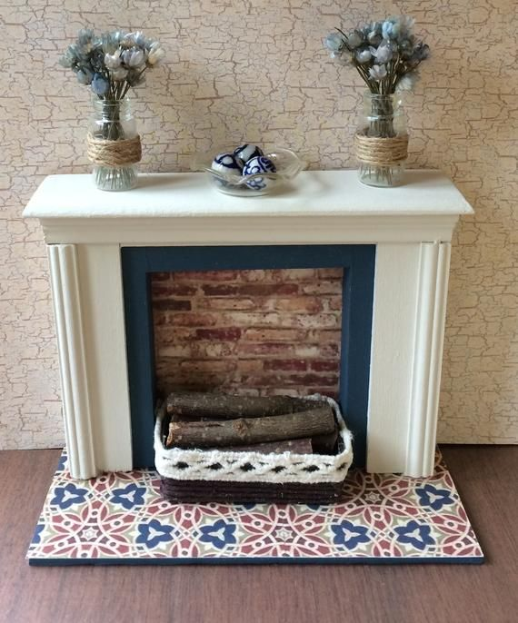 Miniature Fireplace, Dollhouse Fireplace, Dollhouse Furniture, Miniature Furniture, Dollhouse, Diorama, Room Box #miniaturefurniture