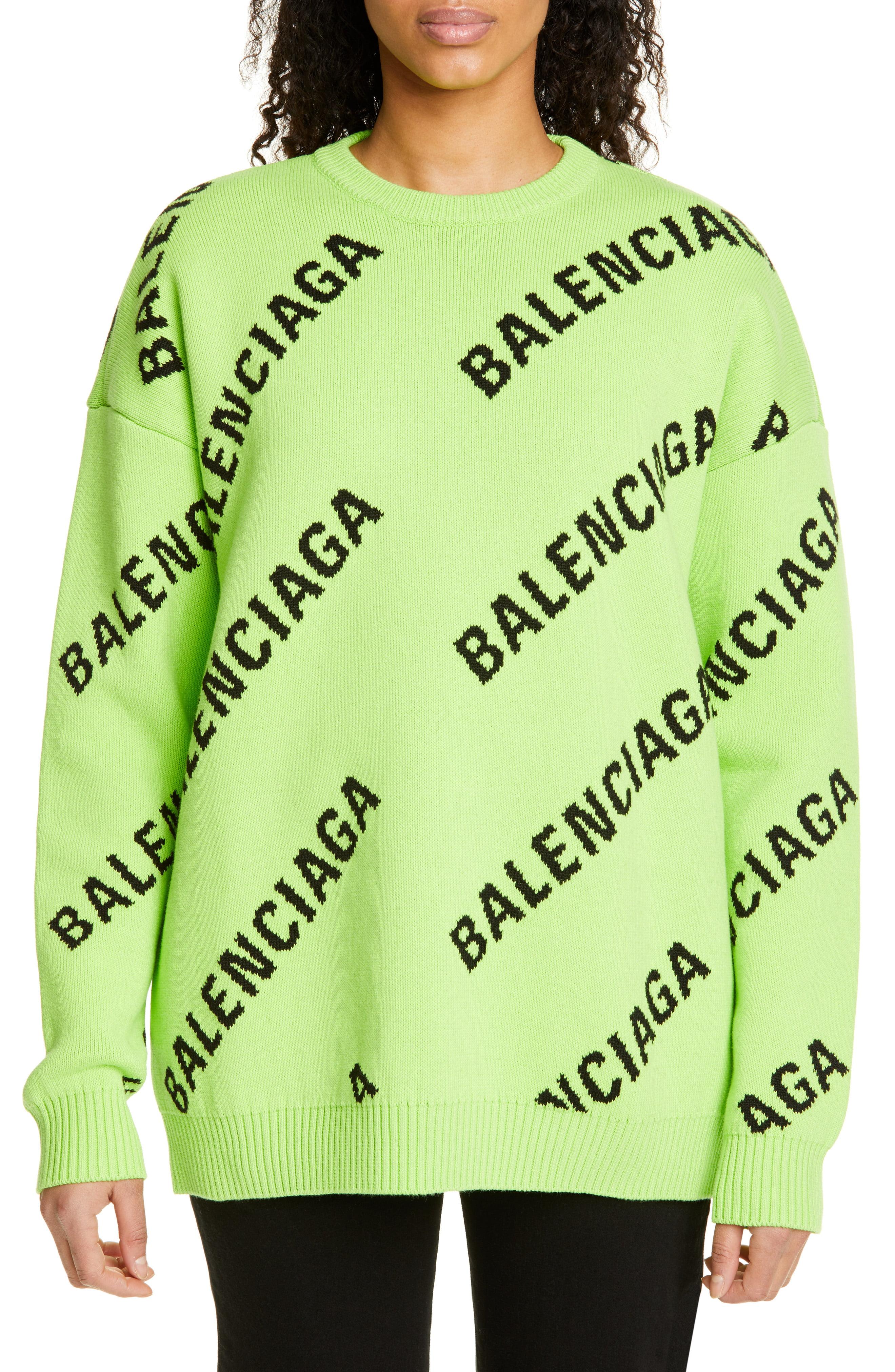 Women S Balenciaga Logo Jacquard Cotton Blend Sweater Size Small Green Sweaters Fashion Clothes Women Sweater Fashion [ 4048 x 2640 Pixel ]