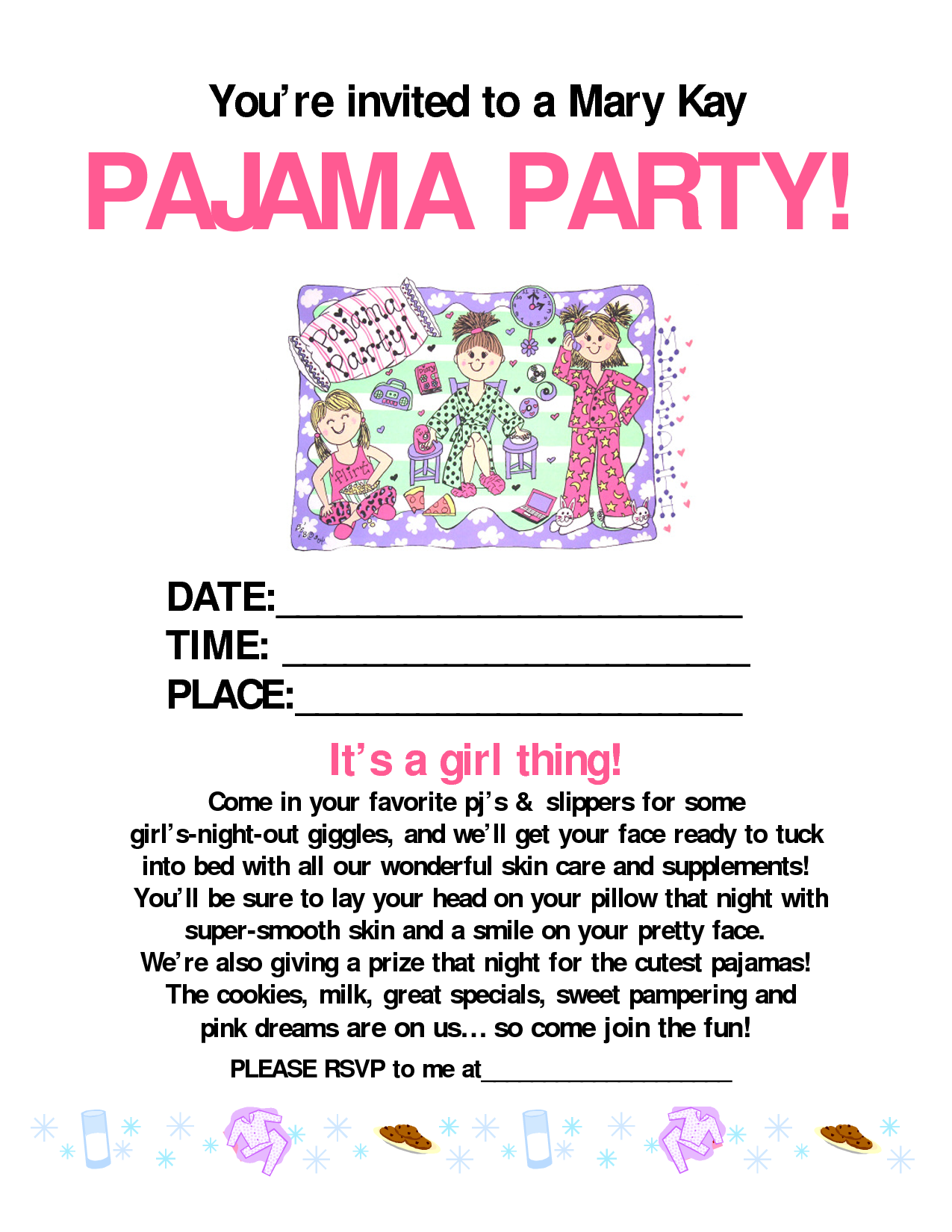 Pajama party mary kay mary kay pinterest mary kay for Mary kay invite templates