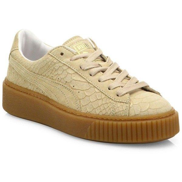 PUMA Basket Snakeskin-Embossed Suede Platform Sneakers ($120) ❤ liked on  Polyvore featuring