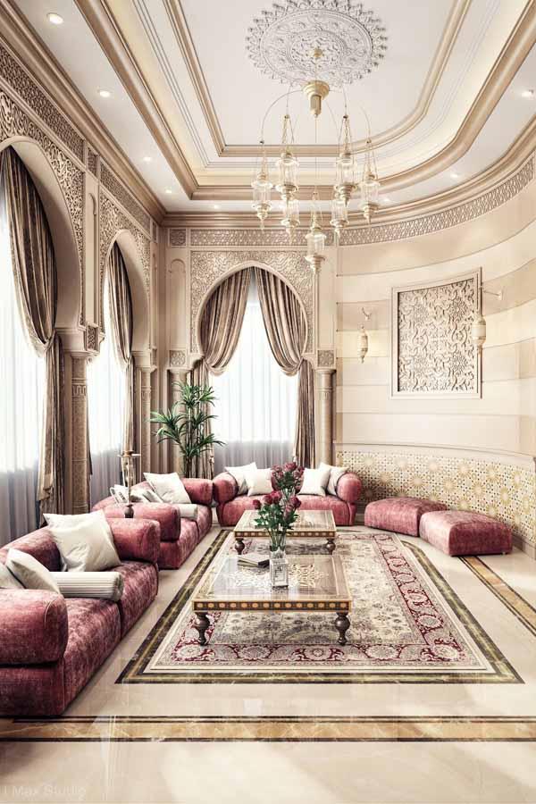 ديكور جبس أسقف كلاسيك لـ ديكورات جبس الفلل والمنازل الفخمة ديكورات أرابيا Moroccan Decor Living Room Moroccan Living Room Moroccan Dining Room