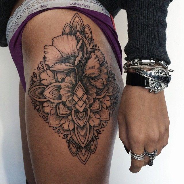 Awesome Geometric Flower Tattoo On Upper Leg Tattoos Hip Tattoo Hip Tattoo Designs