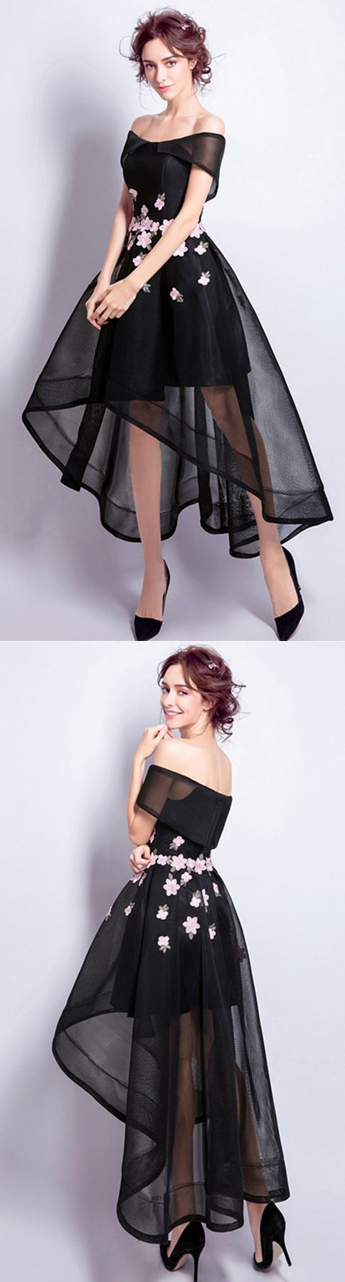 Black aline offtheshoulder high low tulle formal dress with
