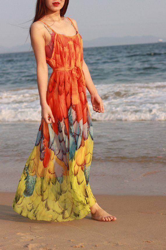 d84e1cb4a4d2 orange peacock dress floral sundress plus size maxi dresses summer beach  dresses holiday print dress