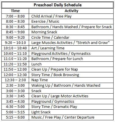 Sample Schedual   Daycare    Daycare Ideas