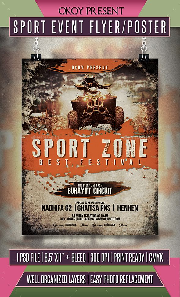 Sport Event Flyer / Poster | Event flyers, Flyer template and Event ...