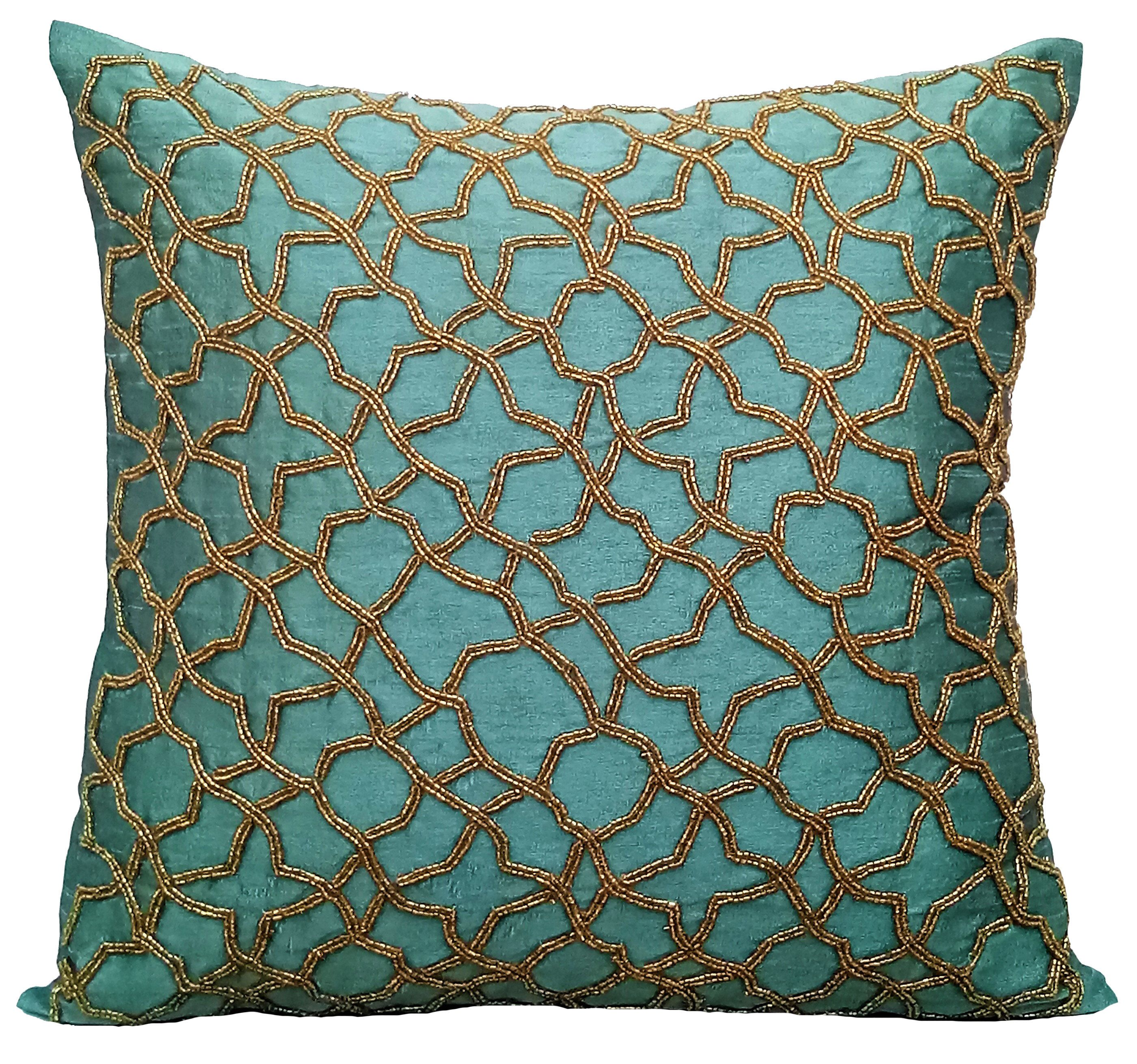 "Teal Accent Pillows Geometric Pillow 16""x16"" Silk Pillows Covers"