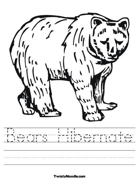 Bears Hibernate Worksheet From Twistynoodle Com Bear Coloring