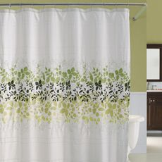 Green Yellow And Black Petal Design On White Shower Curtain