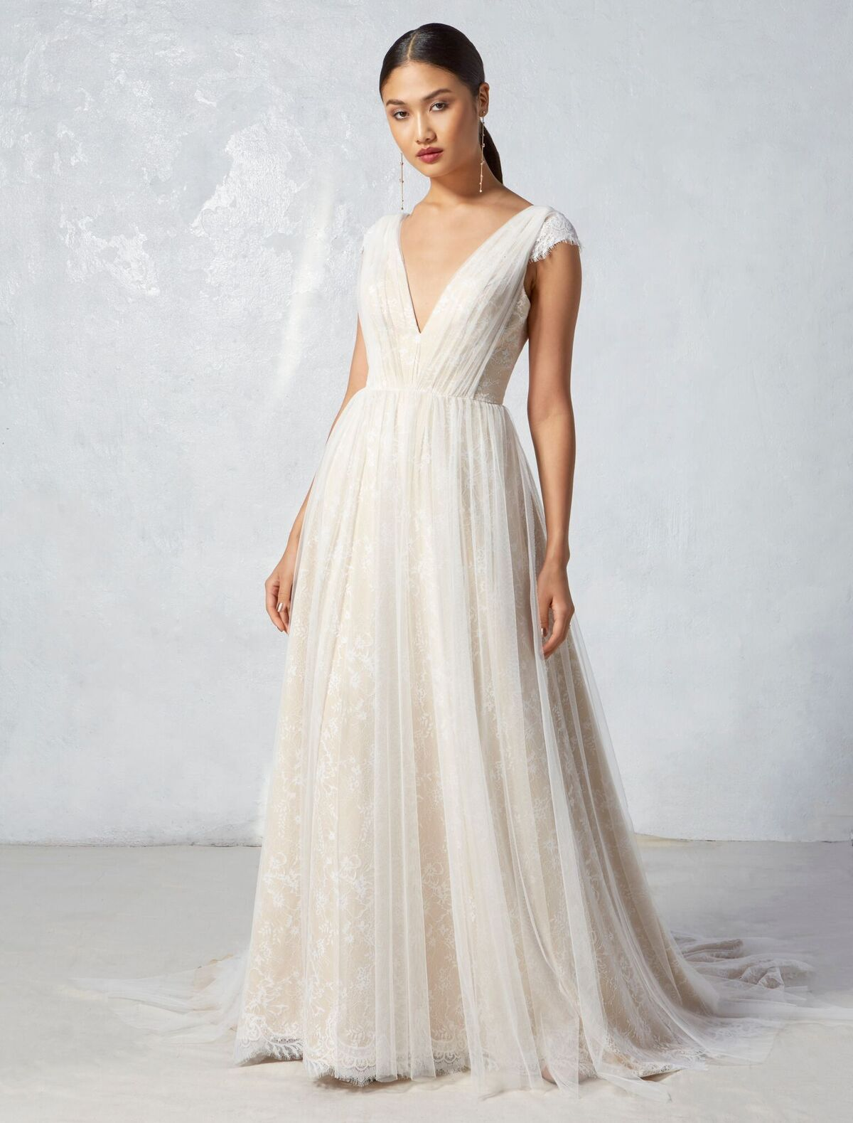 Superb Audra Ivy u Aster Fall Collection V neck lace wedding dress