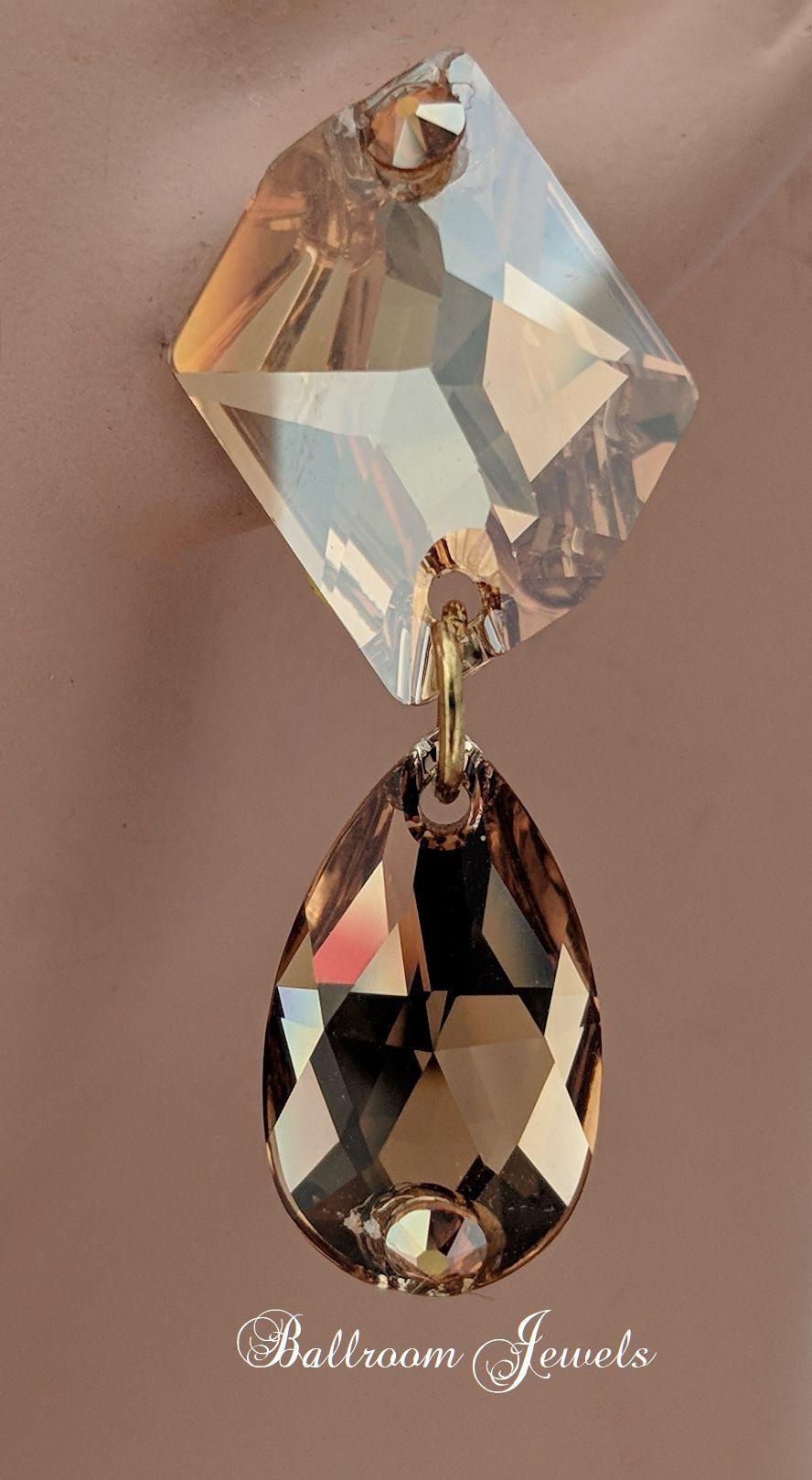 3ffe5d31b343 Ballroom Swarovski Crystal Cosmic and pear earrings - golden shadow ...