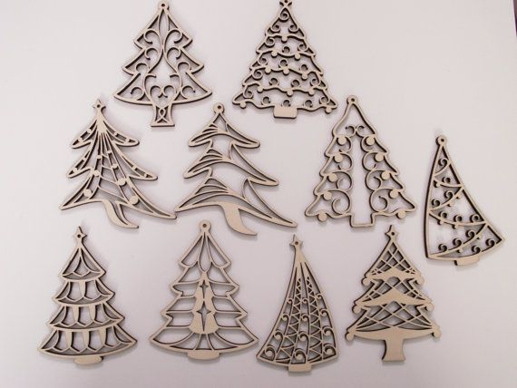 Christmas tree laser cut wood ornaments 10 pieces for Decoration or embellishment crossword