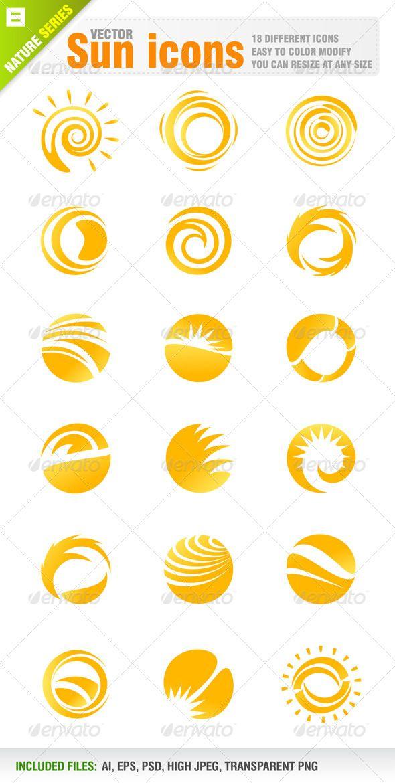 18 Sun Icons Sunshine Logo Sunrise Logo Solar Logo