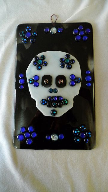 Day of the Dead fused glass wall hanging by Buddha Kitty Glass, via Flickr