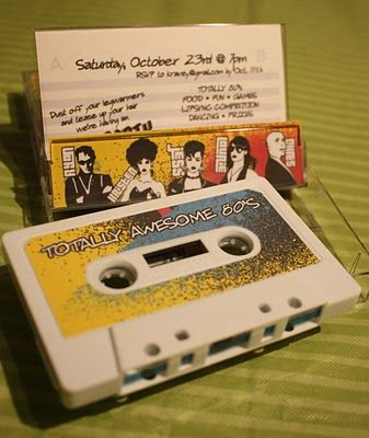Totally Cool 80s Party Invitation Cassette Tape Wedding Ideas