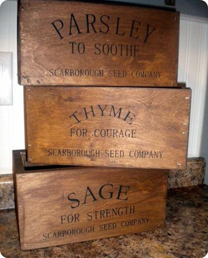 Wooden Herb Crates Crates Rustic Herb Wooden Crates