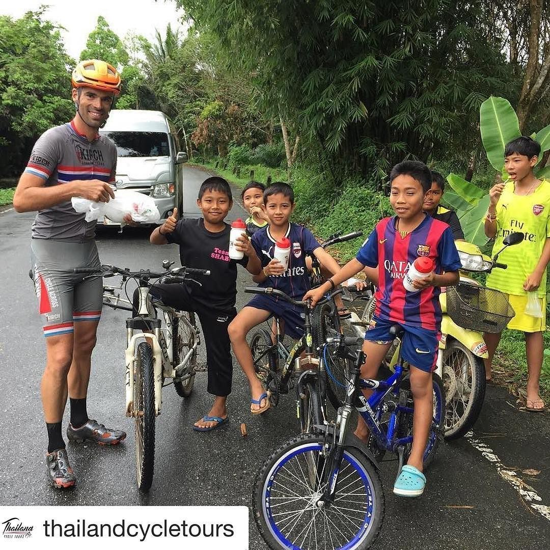 #Repost @thailandcycletours with @repostapp  On the way to Khao Lak we cycle with some kids and we gave them  somedrinking bottles as gift#cyclingphotos #cyclingtours #triathlon #cycling #thailand #bangkok to #phuket #biketrip #bmc #trek #adventure #tours