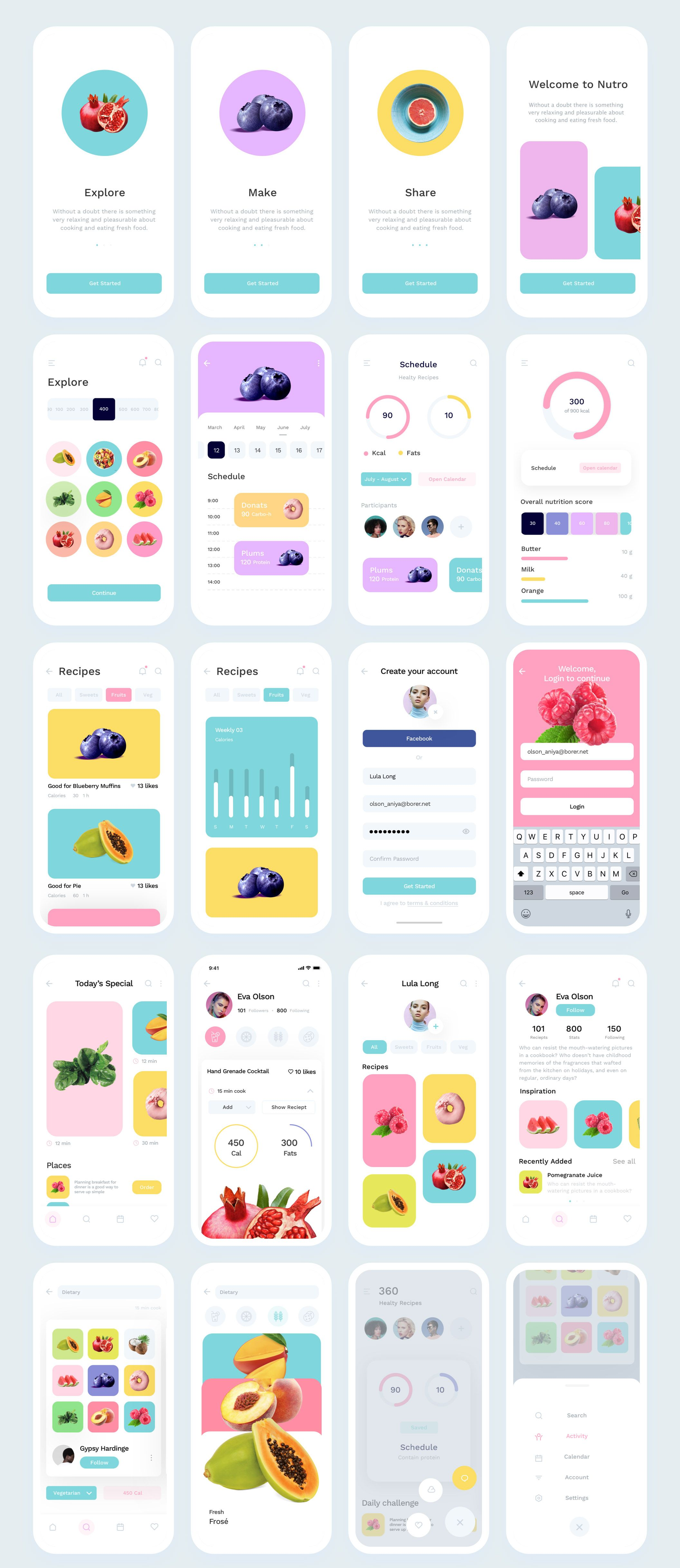Nutro Super clean and minimalistic iOS UI Kit