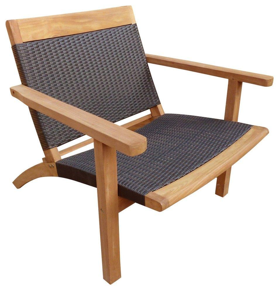Teak Barcelona Patio Lounge Chair With