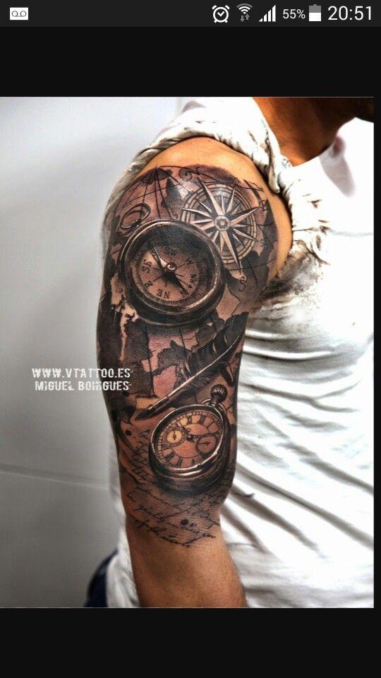 Upper Arm Half Sleeve Tattoo Designs: Cool Half Sleeve Tattoos, Watch Tattoos, Tattoos