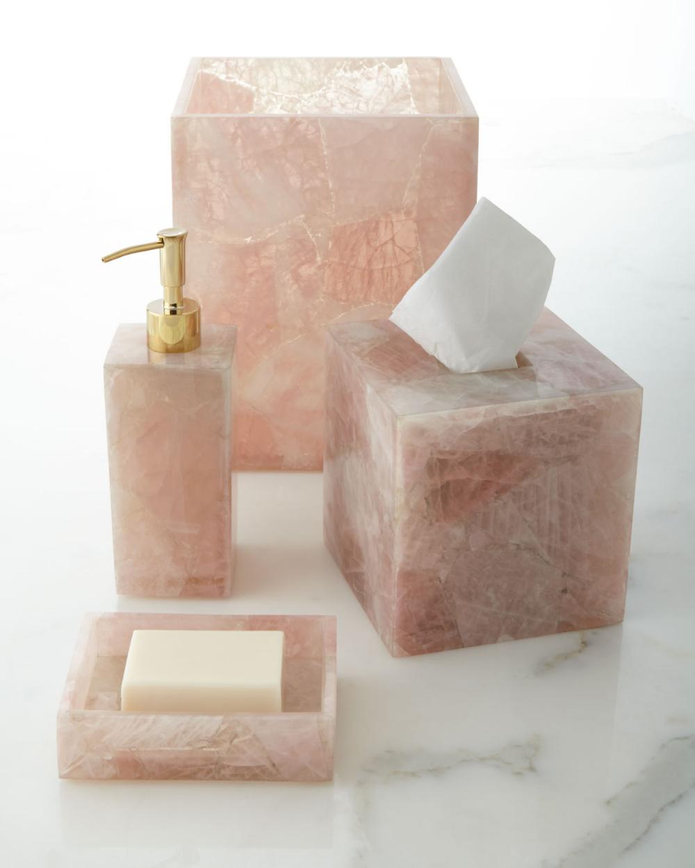 Mike Ally Rose Quartz Vanity Accessories Matching Items Crystal Decor Vanity Accessories Mediterranean Decor