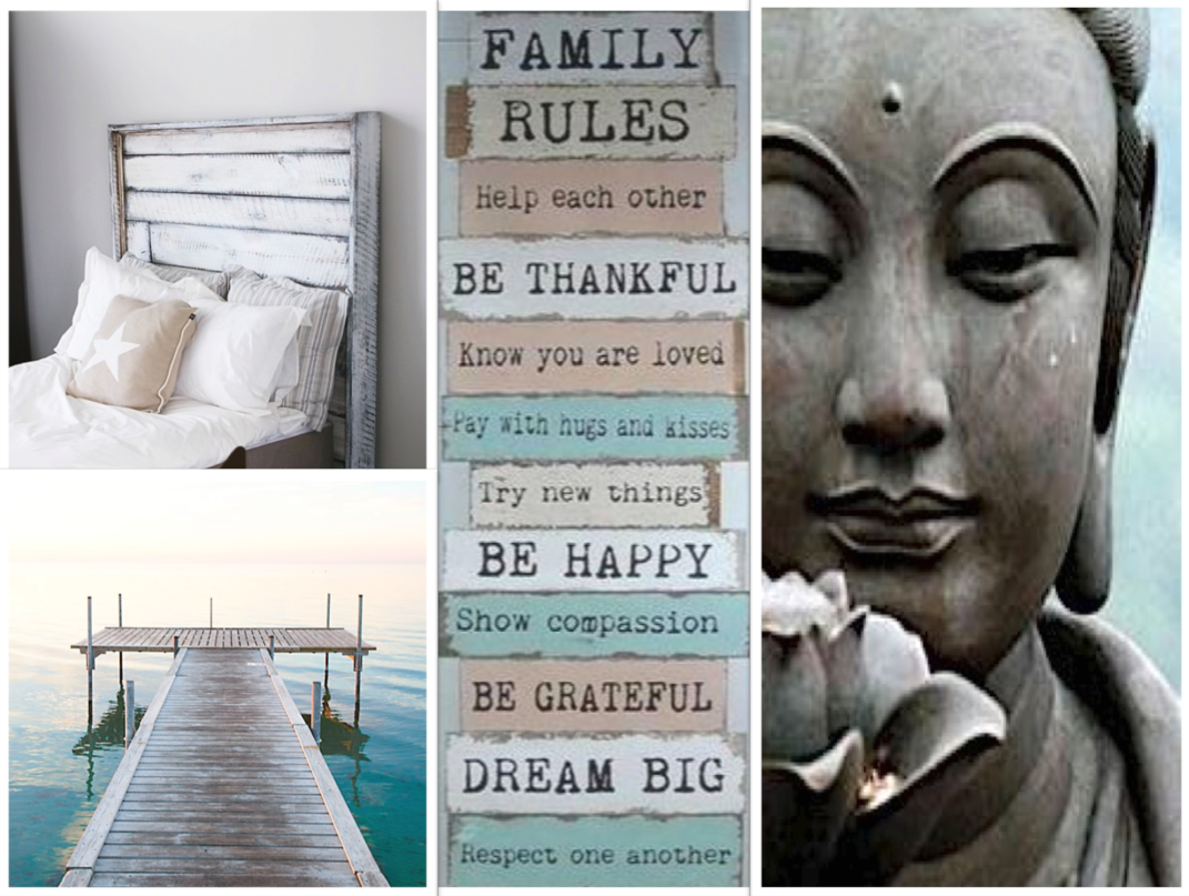 Buddha voor rust in de slaapkamer, pakkende tekst op de muur, houten ...