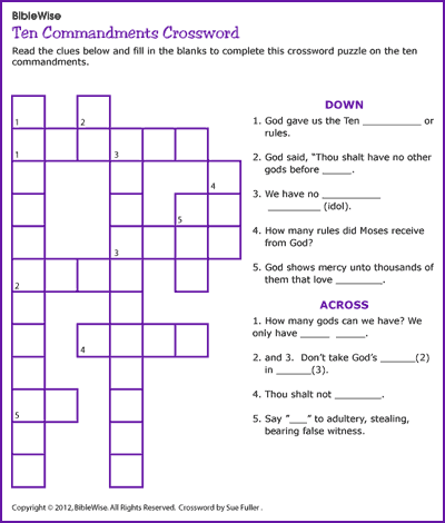 Ten Commandments Crossword