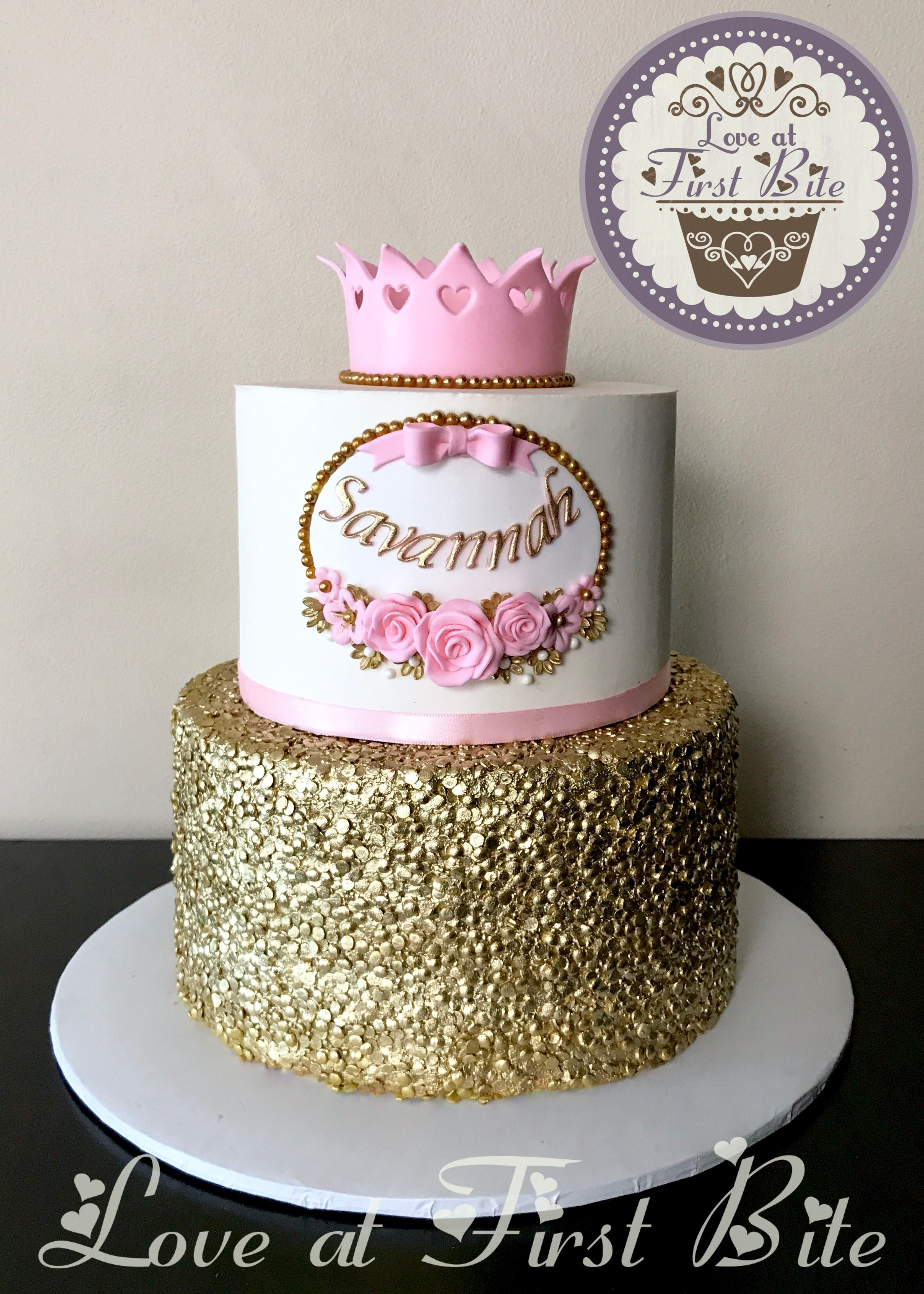 Pink And Sequin Gold First Birthday Princess Cake Princess Cake
