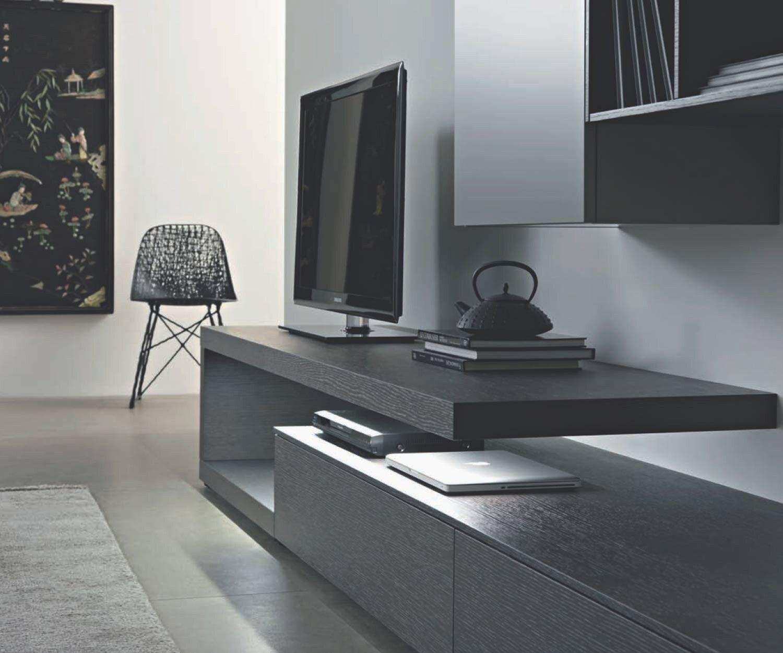 Meuble Mural Design Moderne Avec Meuble Tv Flottant En Chene Carbone C Armoires Murales Lowboard Chene Gris Mat 330 Cm De Large In 2020 Wohnen Wohnwand Modernes Design