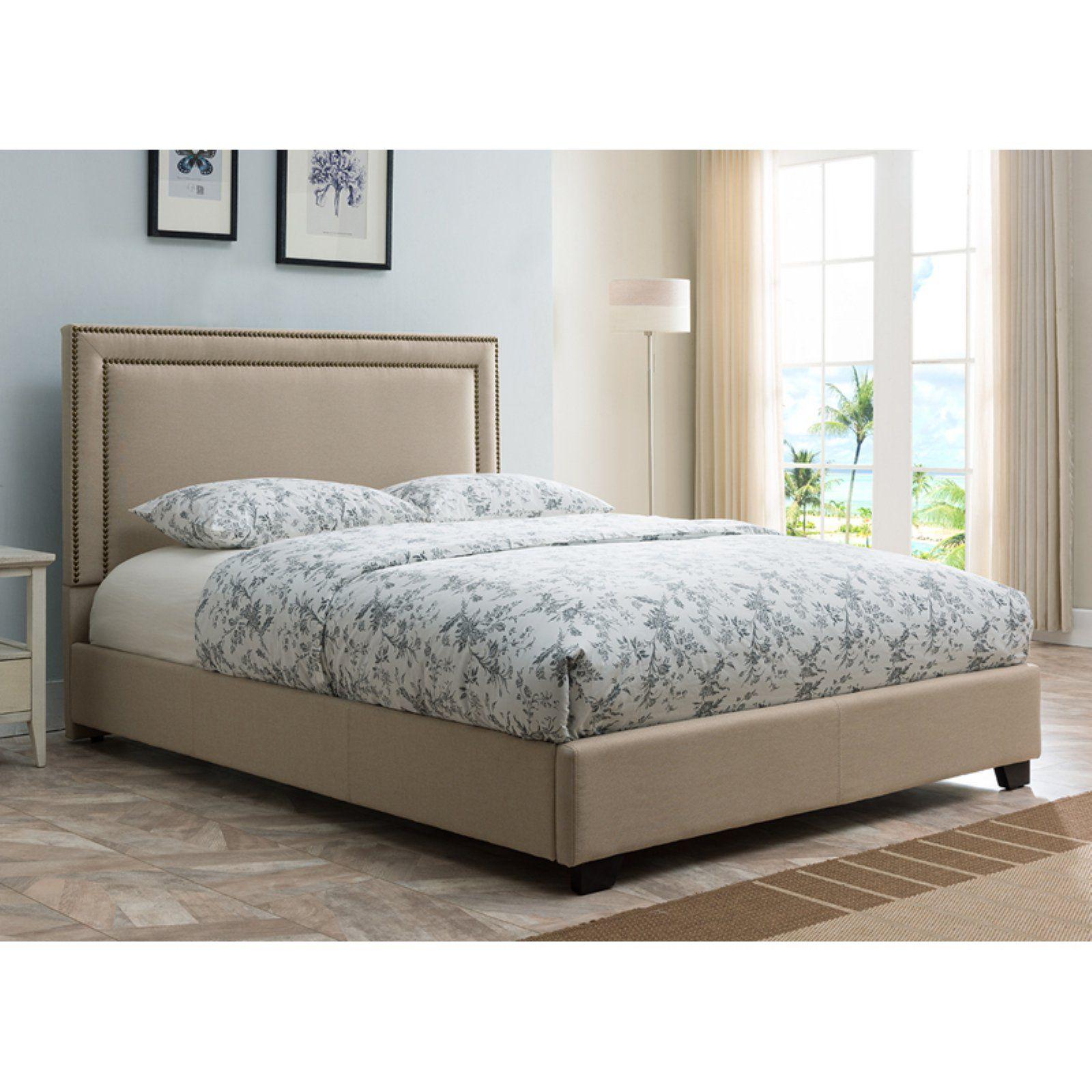 Mantua Banff Platform Bed With Nailhead Trim Taupe Size Queen