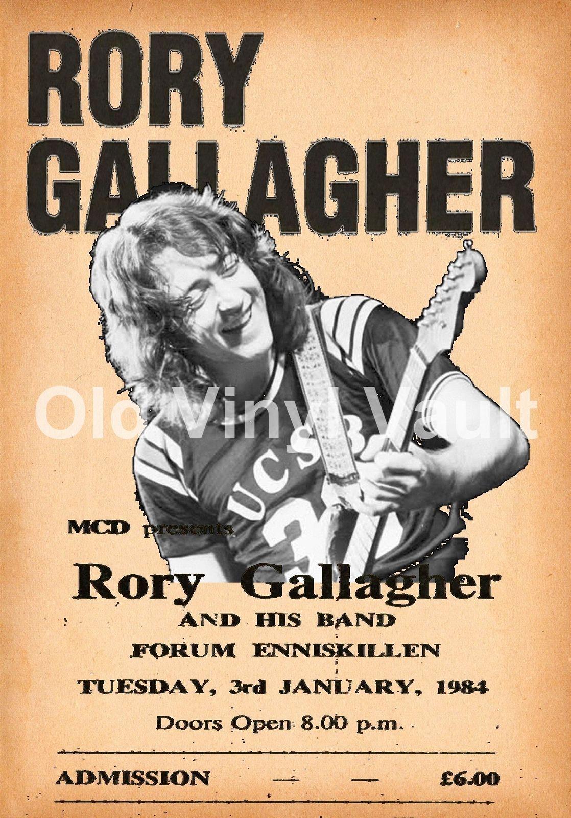 Rory Gallagher Concert Poster Enniskillen Forum 1984 New A3 Size