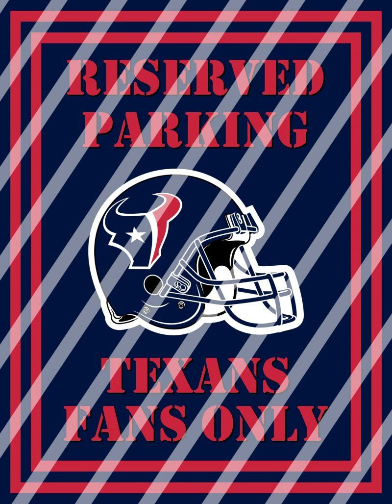 Houston Texans Parking Wall Decor Sign 2 Instant Print Framed
