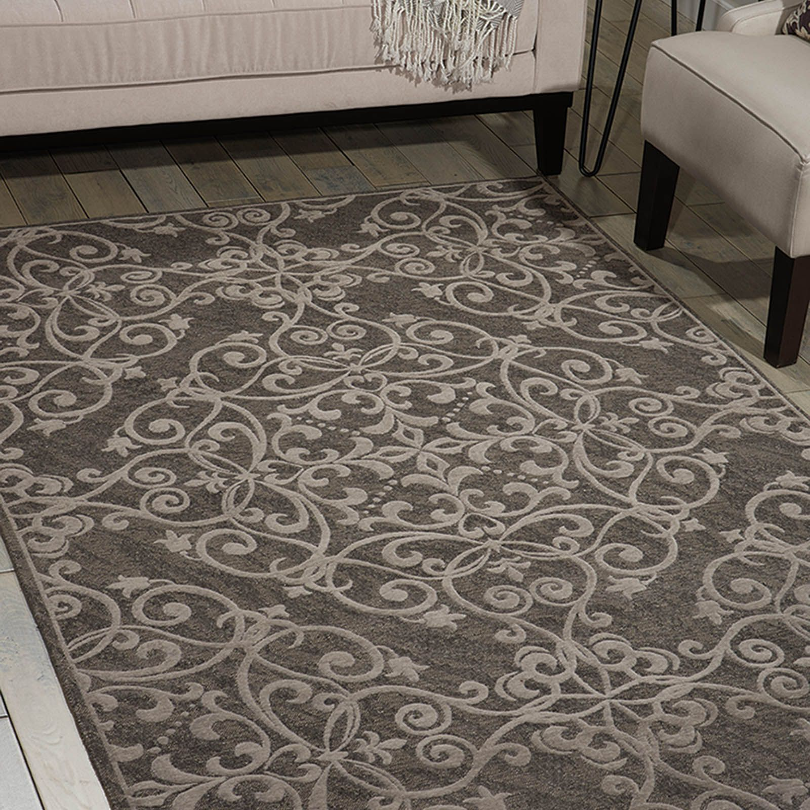 Damask Rugs Das01 In Grey By Nourison