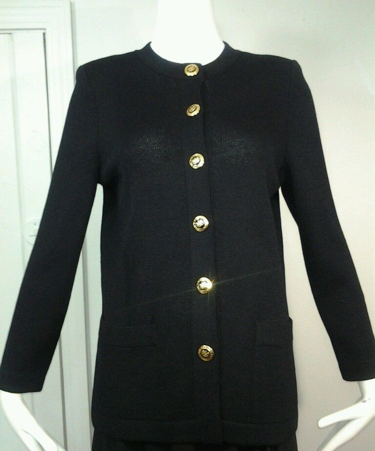 Women's ST.JOHN Basics Black Knit Gold Button Cardigan Sweater ...