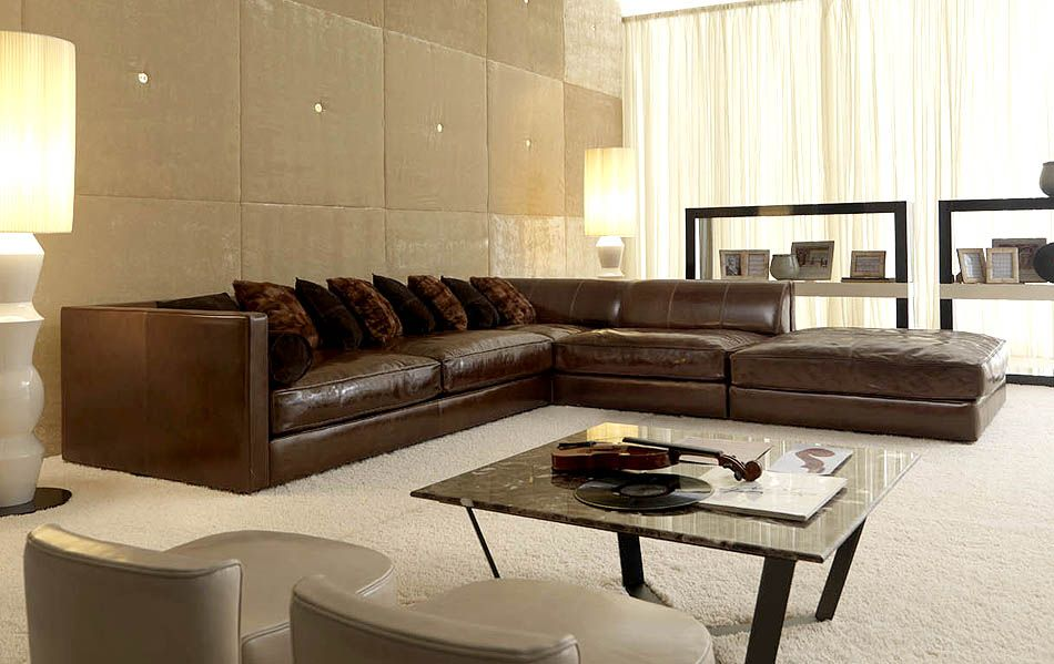 J SECTIONAL LEATHER SOFAS - LARGE IMAGE OF J SECTION LEATHER SOFA AND STOOL : huge leather sectional - Sectionals, Sofas & Couches