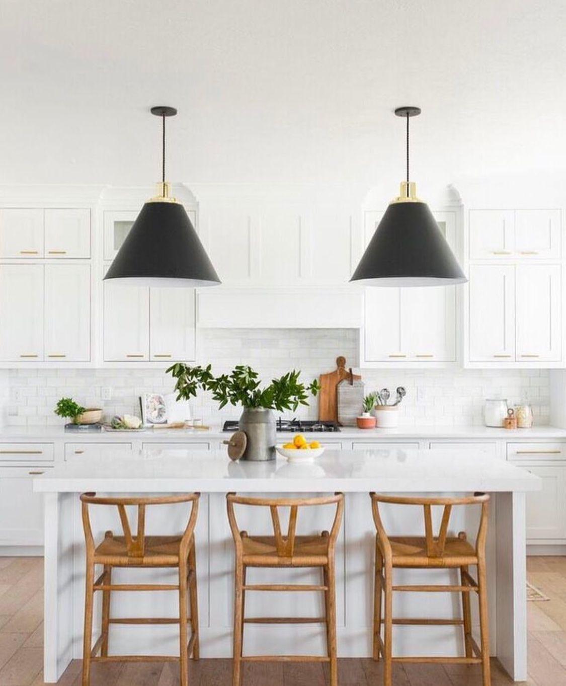 White Kitchen With Black Pendant Lights Home Decor Kitchen