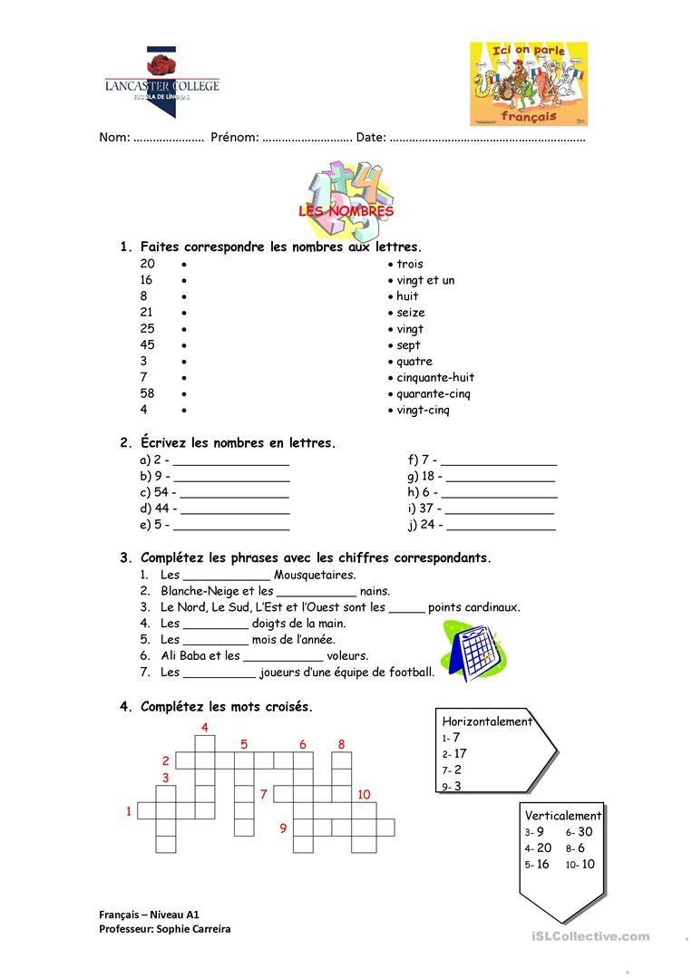 Les nombres | lev 4 | L'enseignement du français, Les nombres en français et Fle