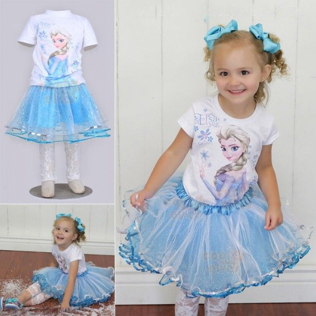 EMS DHL Free Shipping Kids Toddler Girls Frozen Elsa Anna Dress Children Clothes Holiday Wear