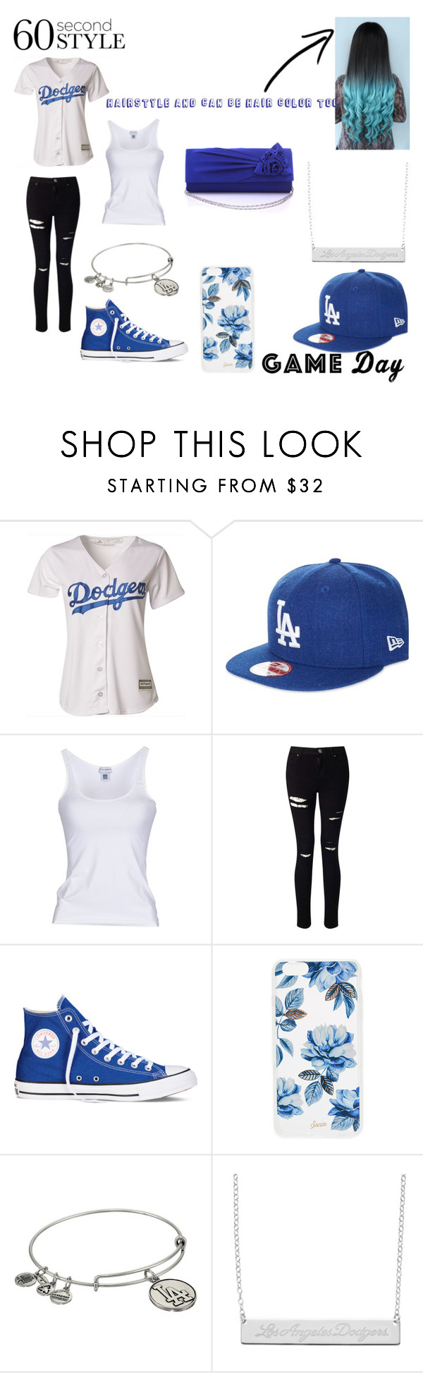 """""""Last 'Game Day' outfit"""" by marieangel26 ❤ liked on Polyvore featuring Majestic, New Era, Dolce&Gabbana, Miss Selfridge, Converse, Sonix and Alex and Ani"""