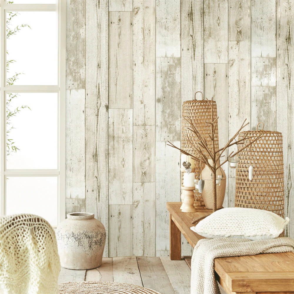 White Wood Contact Paper Waterproof Self Adhesive Peel And Stick Wallpaper For Cabinets Countertops Woo In 2020 Wood Wallpaper Wallpaper Furniture Wood Grain Wallpaper