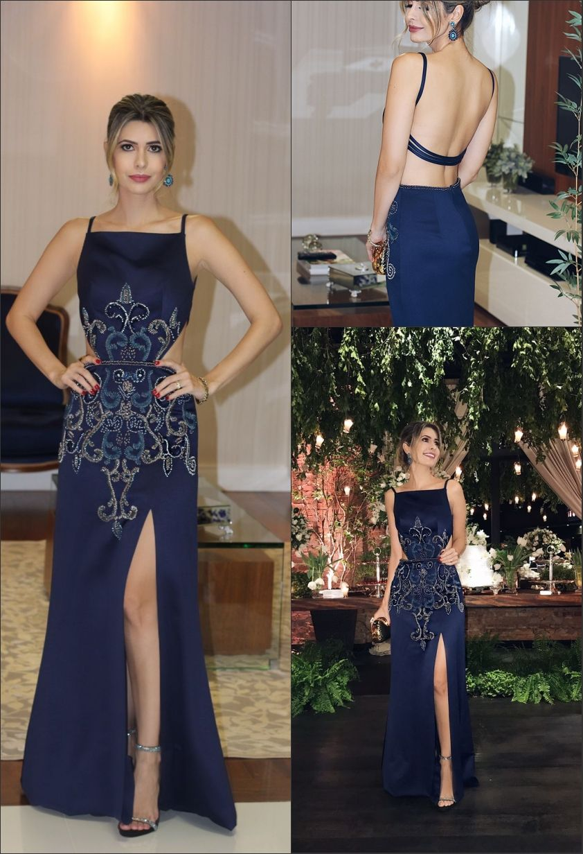 Mermaid square floorlength cut out navy blue satin prom dress with