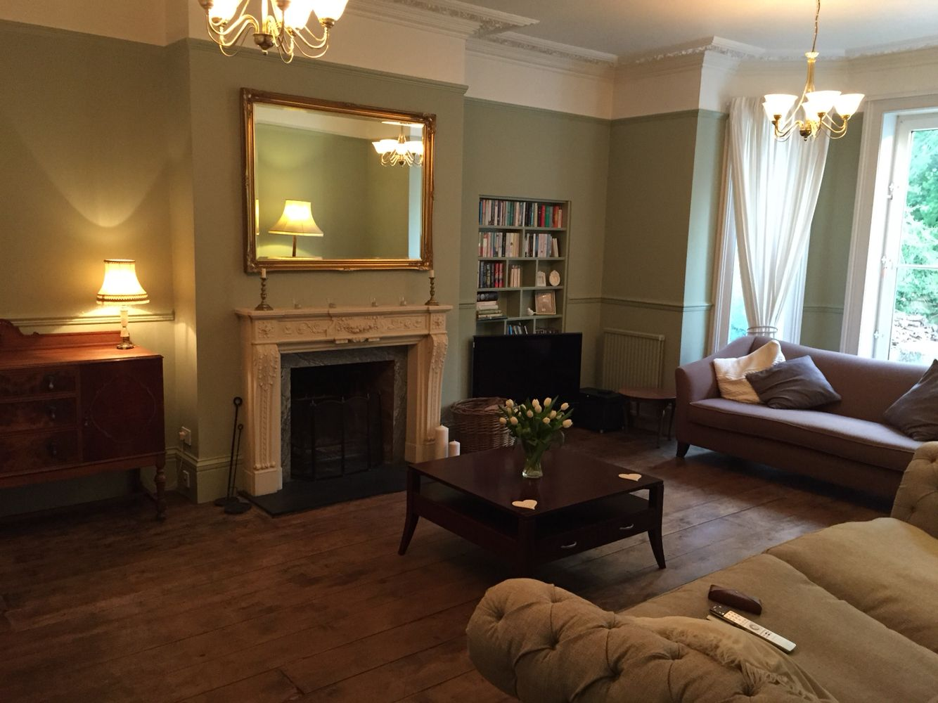 victorian period living room or lounge in farrow and