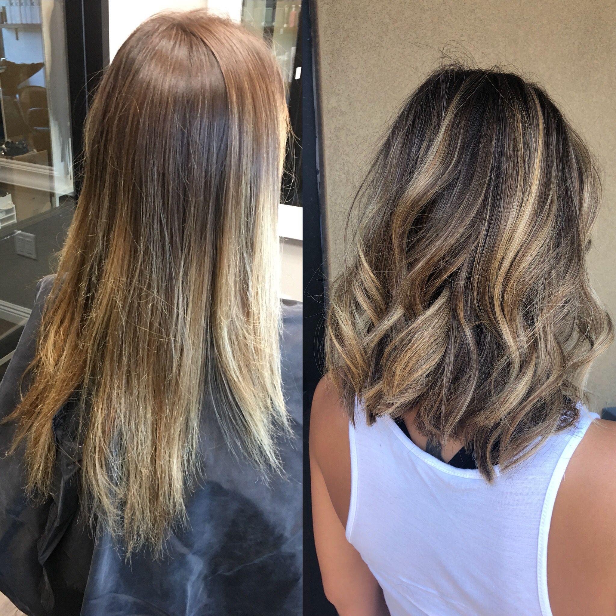 Before And After Balayage Shorthair Balayage Hair Short Hair Balayage Hair Color Balayage