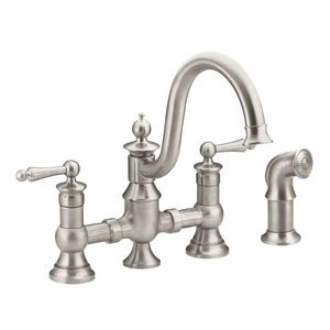 Moen Waterhill™ 22 Gpm 4Hole 2Lever Handle Kitchen Faucet With Adorable 4 Hole Kitchen Faucet Decorating Inspiration