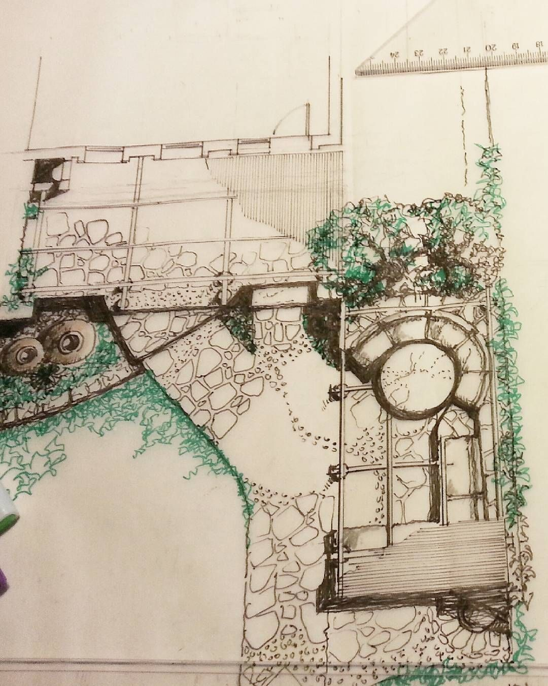 Landscape gardening sketch..#prizma #tasarım #design #architecture #homedecor #renovation #aplication #decoration #furniture #furnituredesign #mobilya #homestyle #sketch #pergola #garden #drawing by turony