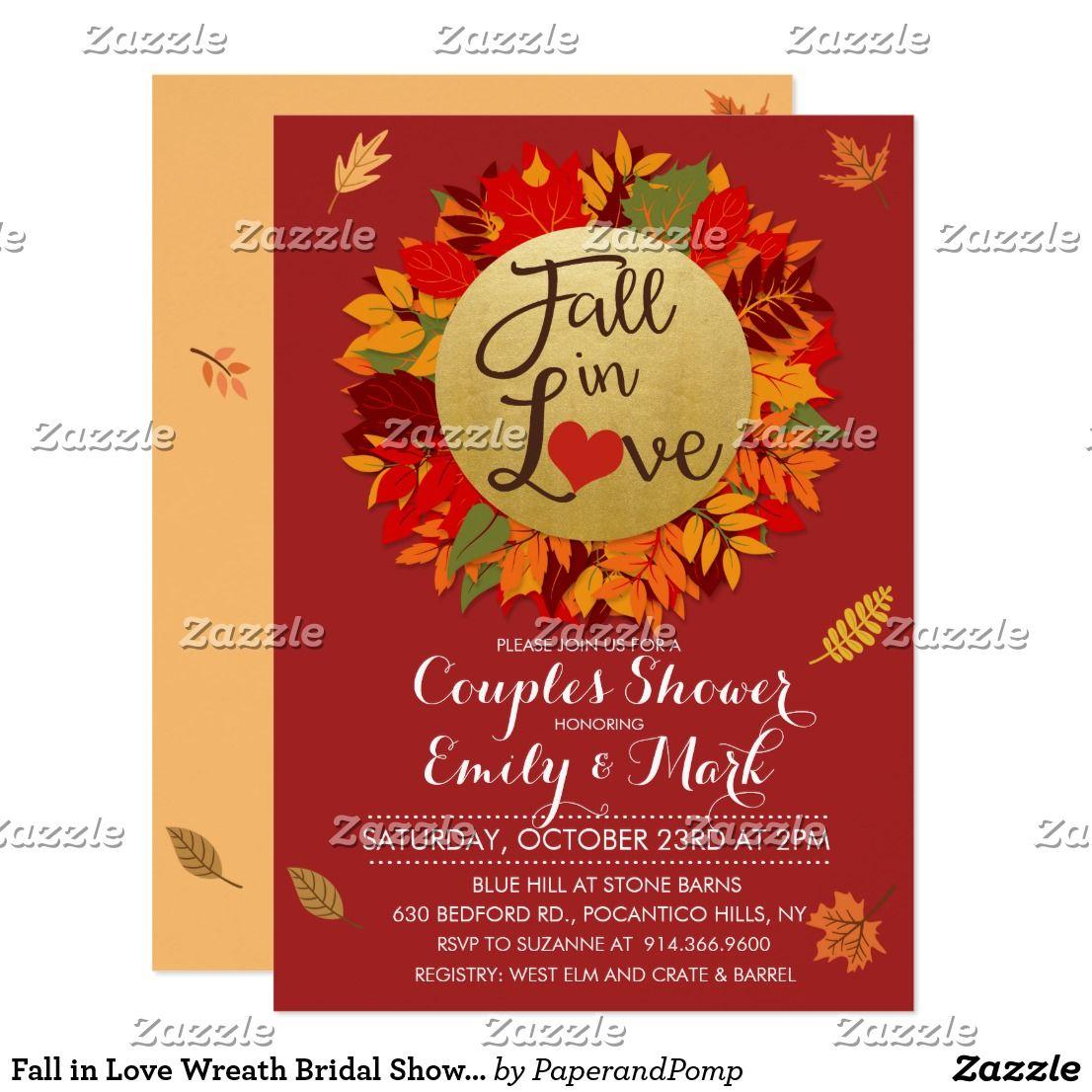 Fall in Love Wreath Bridal Shower Invitation