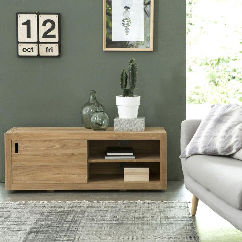 Meuble TV en teck 120 Adam Décoration Pinterest Salons, Salon