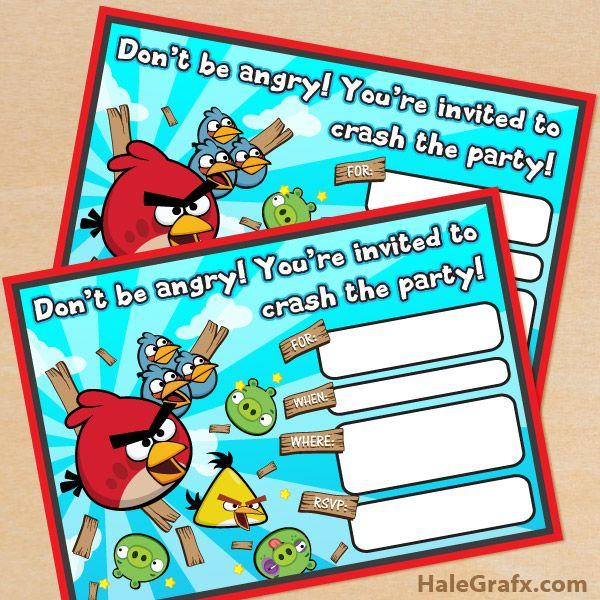 Click here to download FREE Printable Angry Birds Birthday - downloadable birthday invitation templates