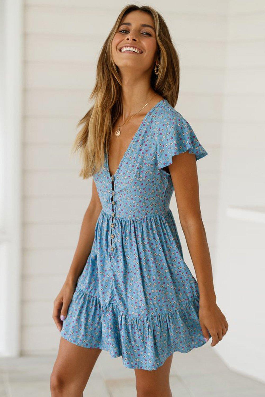 Modest Sky Blue Floral Print Short Sleeve Valentina Dress In 2021 Summer Dresses Dress Clothes For Women Beautiful Dress Designs [ 1500 x 1001 Pixel ]