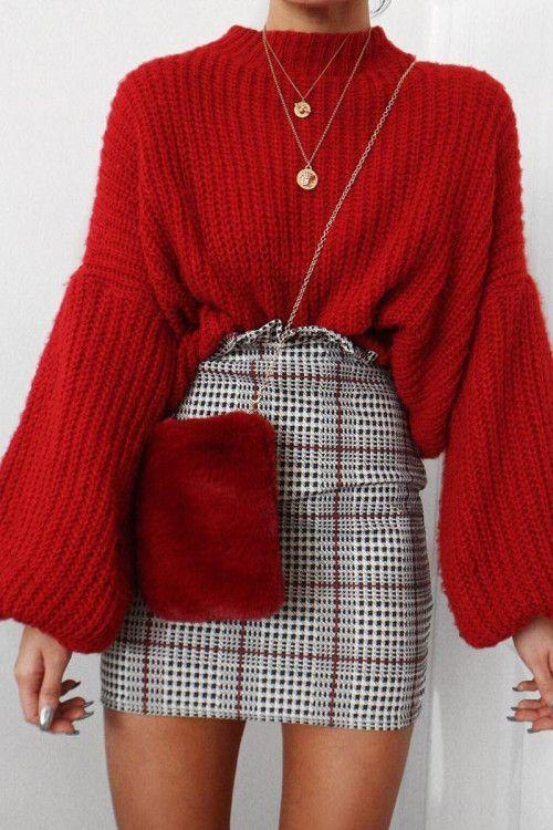 Tartan Hound-Tooth Ruffle Hem Mini Skirt - Abagail #ootd